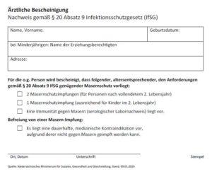 Download Masern-Impfbescheinigung